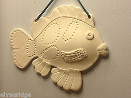 One of a Kind Two White Bisque fired Fish wall hangings by New York Artist image 6