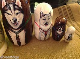 Musher Schlitten Huskyhunden russische Puppe mit winzigem Mann Schlittenfahrer image 5