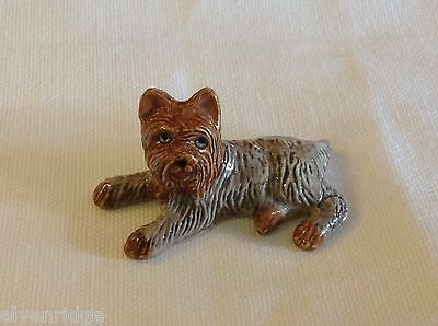 ceramic miniature dog cute reclining Yorkie Yorkshire Terrier