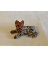 ceramic miniature dog cute reclining Yorkie Yorkshire Terrier - $49.49