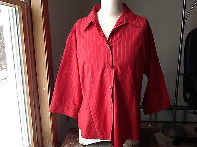Uniti Casuals Rot Ndelstreifen Dreiviertel Länge Ärmel Hemdgröße XL