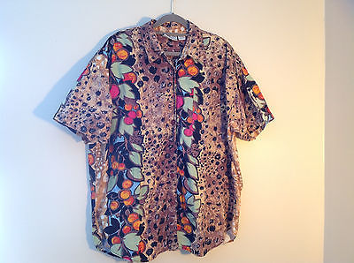 Venezia Animal Print Flowered Short Sleeve Collared Button Up Shirt Size 22 24