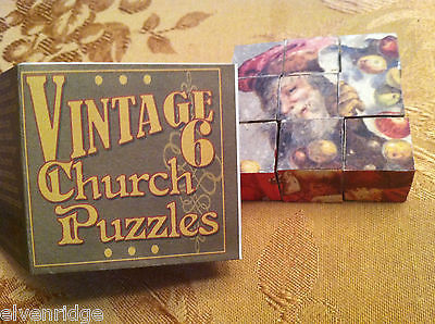6 Sided Cube Vintage Church Puzzle - Santa Claus Christmas Themed