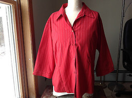 Uniti Casuals Red Pin Striped Three Quarter Length Sleeves Shirt Size XL - $39.99