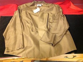 Adriana Papell set of woman brown blazer and white blouse with grey butterflies