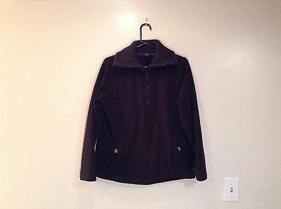 Schwarz Gestrickt Lands End Pullover Mantel Fleece Jacke Trimm Kragen Größe L