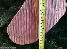 "Large and Long ""Believe"" Red and White Ticking Christmas Stocking vintage look image 8"