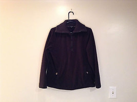 Black Knitted Lands End Sweater Coat Jacket Fleece Trim Collared Size L  - $39.99