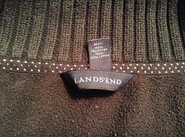 Black Knitted Lands End Sweater Coat Jacket Fleece Trim Collared Size L  image 10