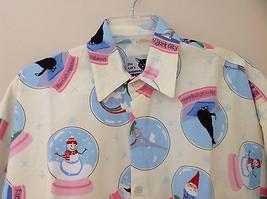 Cream NYC snow globes Inspired Fleece Button Up Night shirt Matching Sleep Mask image 2