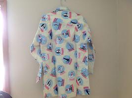 Cream NYC snow globes Inspired Fleece Button Up Night shirt Matching Sleep Mask image 4