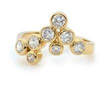 Elegant Grape Shape Rhodium Plated Ring White Cubic Zirconias Stone Crystal - $76.27