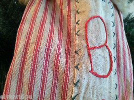 "Large and Long ""Believe"" Red and White Ticking Christmas Stocking vintage look image 3"