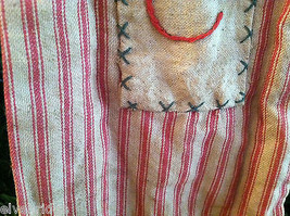 "Large and Long ""Believe"" Red and White Ticking Christmas Stocking vintage look image 4"