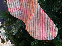 "Large and Long ""Believe"" Red and White Ticking Christmas Stocking vintage look image 6"