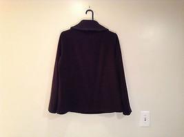 Black Knitted Lands End Sweater Coat Jacket Fleece Trim Collared Size L  image 2