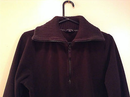 Black Knitted Lands End Sweater Coat Jacket Fleece Trim Collared Size L  image 3
