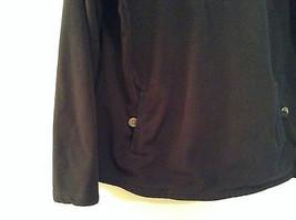 Black Knitted Lands End Sweater Coat Jacket Fleece Trim Collared Size L  image 4
