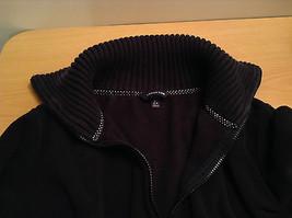 Black Knitted Lands End Sweater Coat Jacket Fleece Trim Collared Size L  image 9