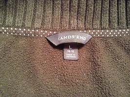 Black Knitted Lands End Sweater Coat Jacket Fleece Trim Collared Size L  image 8