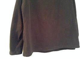 Black Knitted Lands End Sweater Coat Jacket Fleece Trim Collared Size L  image 7