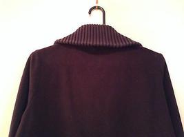 Black Knitted Lands End Sweater Coat Jacket Fleece Trim Collared Size L  image 6