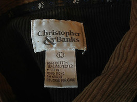 Christopher & Banks Corduroy Olive Button Up Jacket  with Tan Collar Size Large image 5