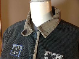 Christopher & Banks Corduroy Olive Button Up Jacket  with Tan Collar Size Large image 2