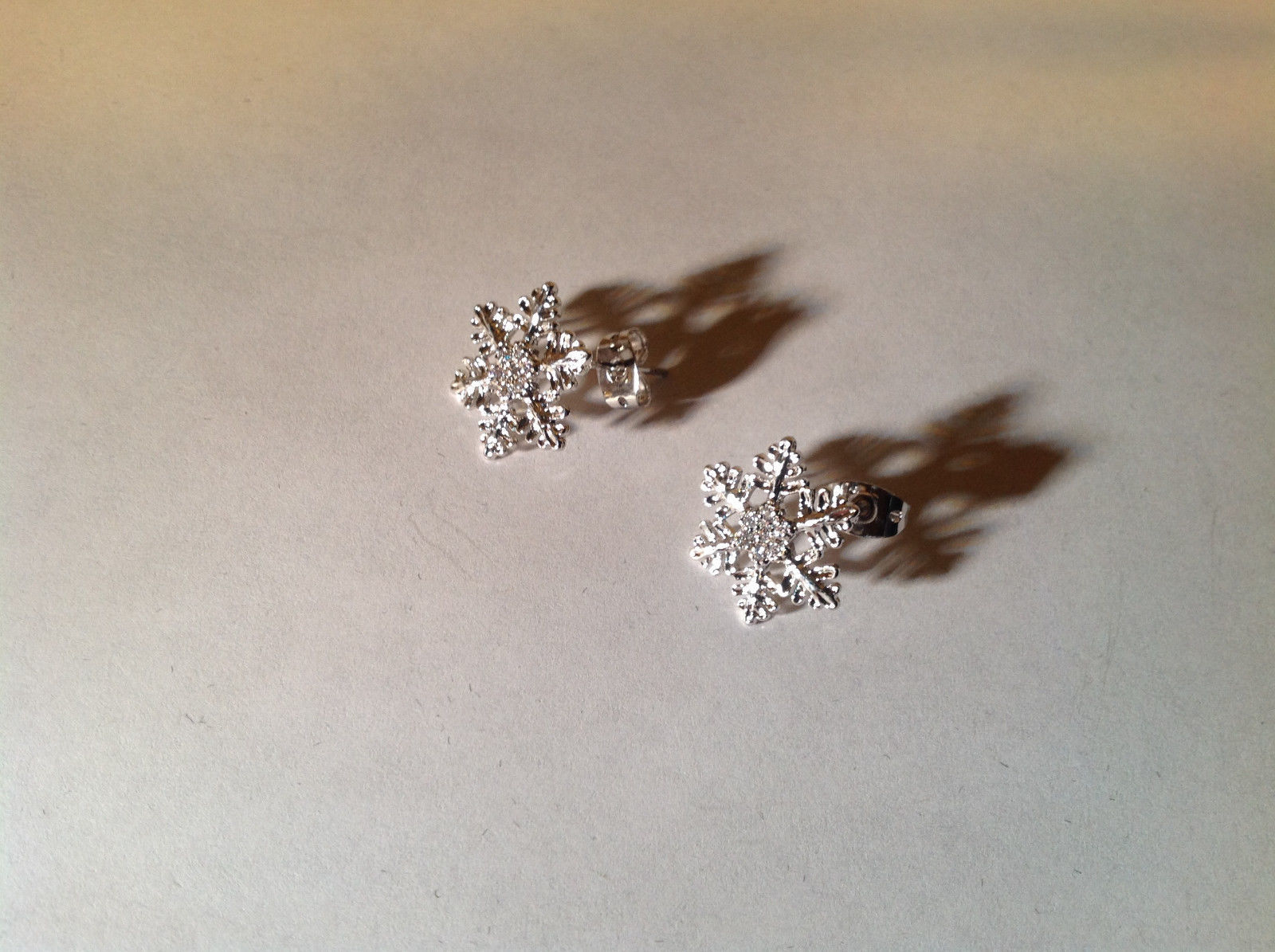 0.5 ct CZ White Gold Rhodium Snowflake Stud Earrings