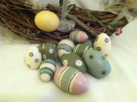 10 decorative wooden Easter eggs assorted size and color vintage look NIB