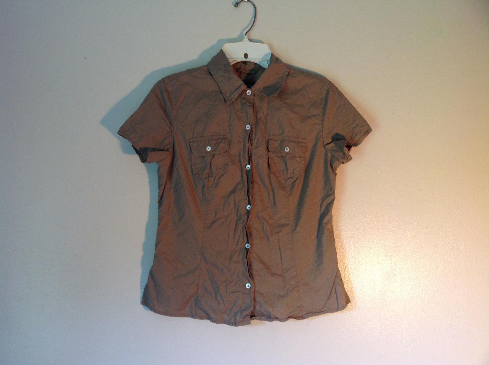 100 Percent Cotton Short Sleeve Brown Button Up Shirt Banana Republic Size S