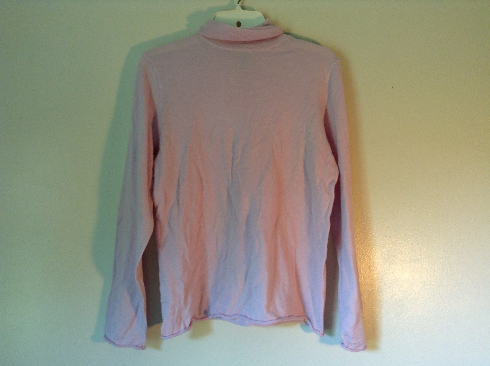 100% Merino Wool Long Sleeve L L Bean Pink Turtleneck Top Size Medium Regular