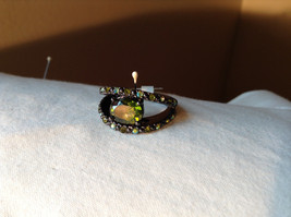 1.5 CT CZ Peridot Black hematite Size choice 5 through 10 hearts on side band
