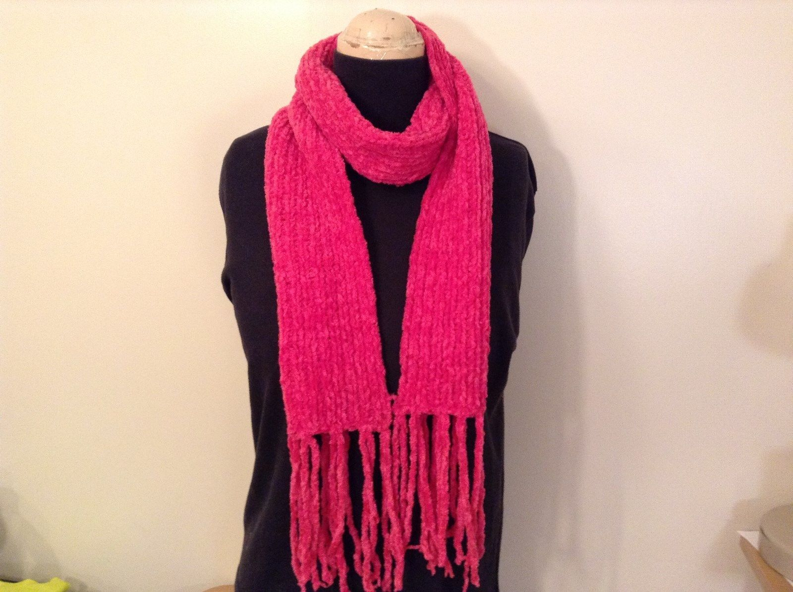 100 Percent Acrylic Neon Pink Scarf 62 Inches Long 6 Inches Wide