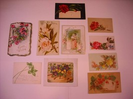 10 Small Floral Illustrated gift Cards ca early 1900s
