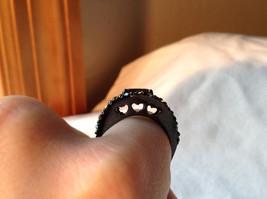 1.5 CT CZ Peridot Black hematite Size choice 5 through 10 hearts on side band image 7