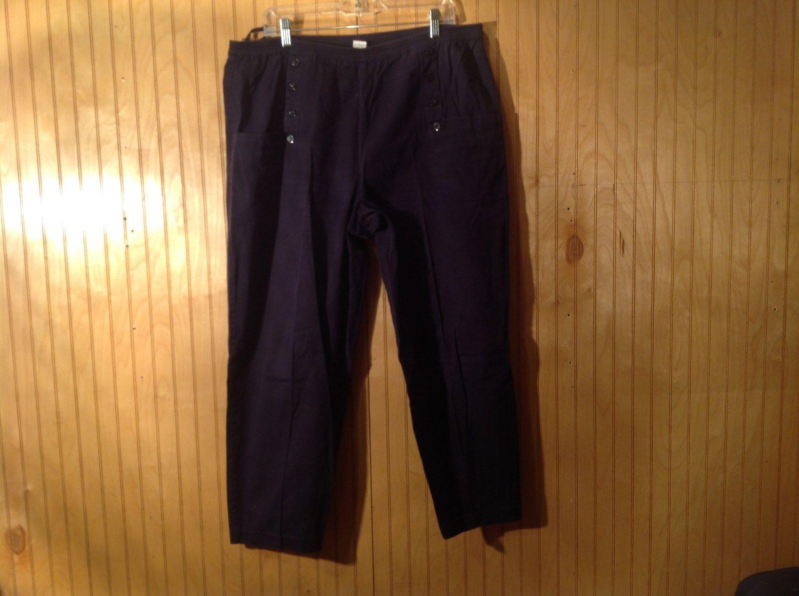 100 Percent Cotton Dark Blue Stretchy Waist Pants Tara Vanessa Pants