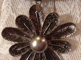 10 Petal Flower Silver Tone Scarf Pendant 7 Small Crystals Large Silver Bead image 6