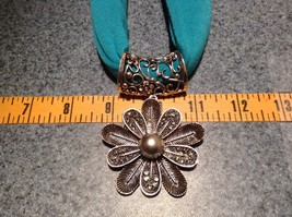 10 Petal Flower Silver Tone Scarf Pendant 7 Small Crystals Large Silver Bead image 2