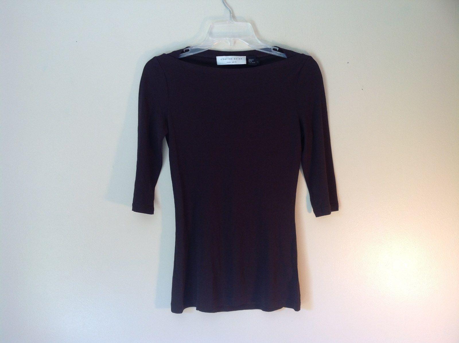 100 Percent Silk Black Charles Nolan New York Shirt Size XS