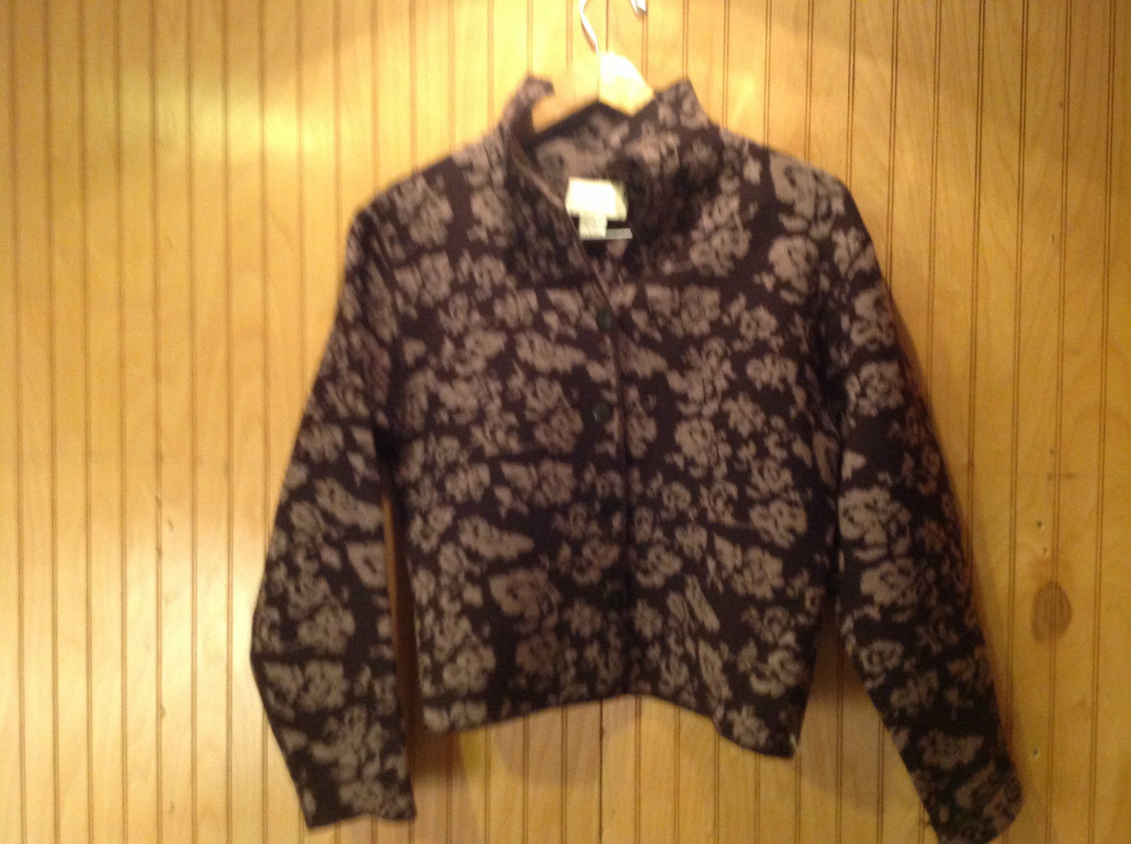 100 Percent Merino Wool Field Manor Purple Floral Design Jacket Size Medium