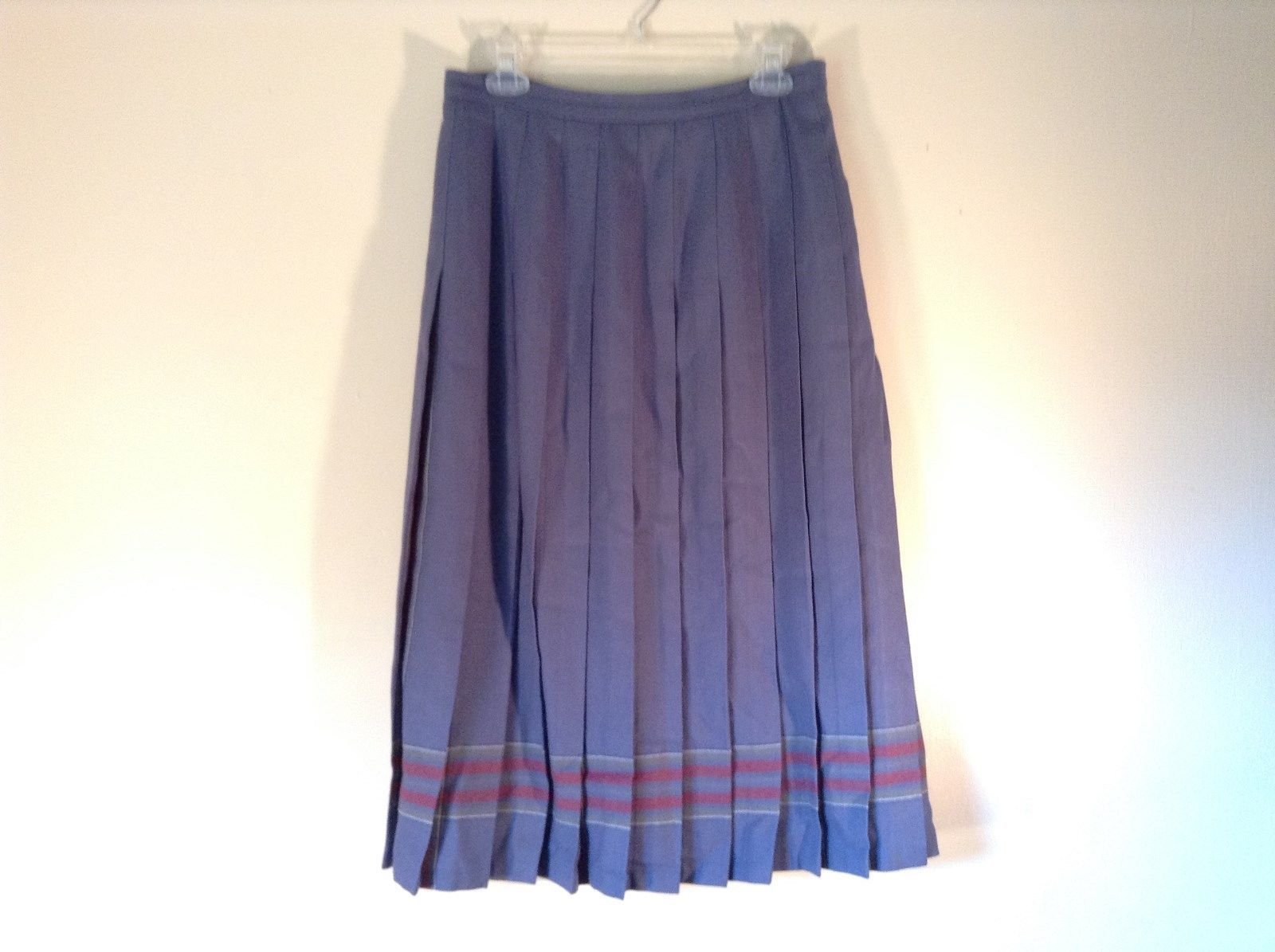 100 Percent Wool L L Bean Size 14R Blue Long Pleated Skirt Made in Scotland