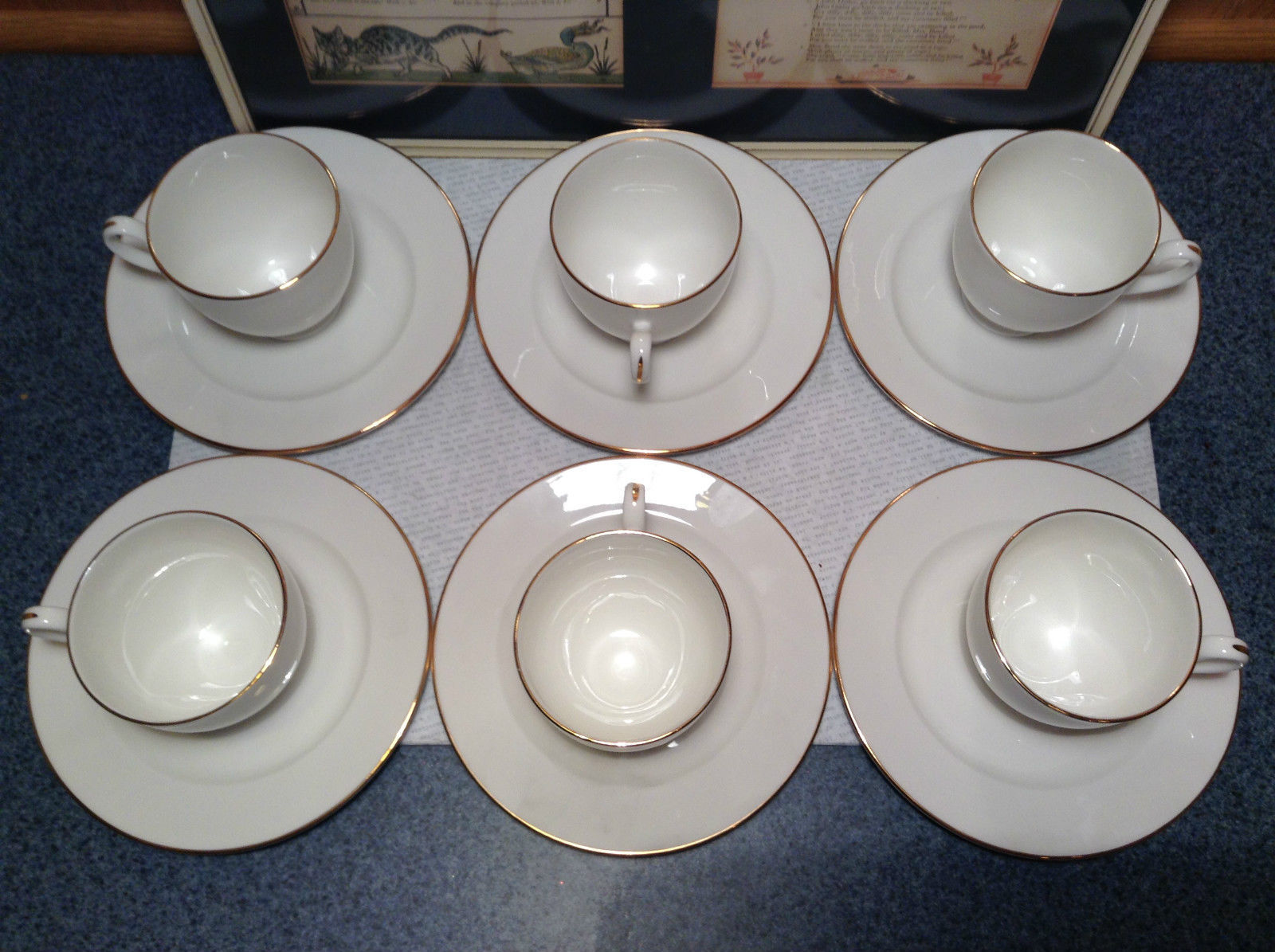 12 Piece Set 6 Cups 6 Saucers Royal Grafton Fine Bone China White with Gold Trim