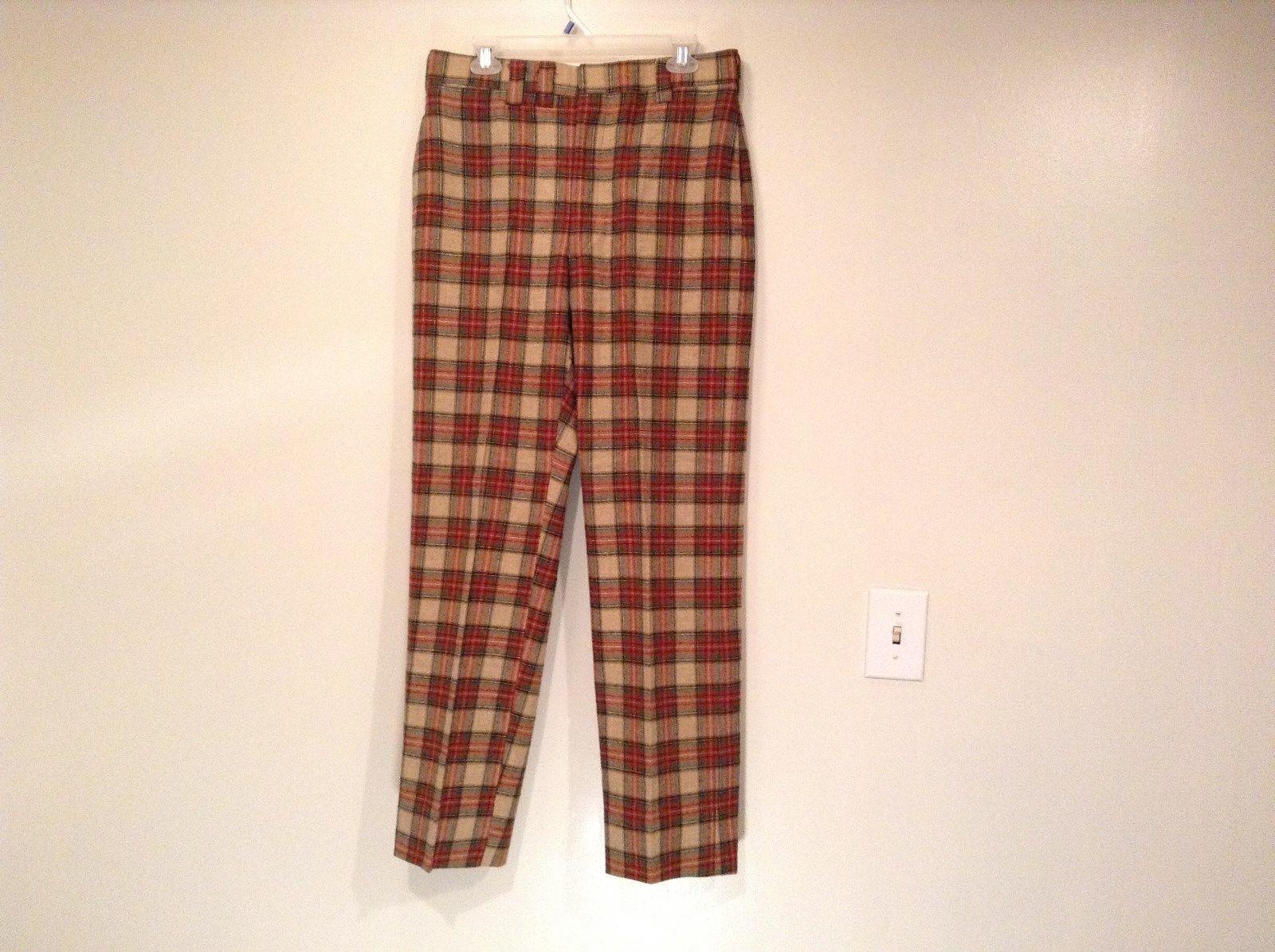 100 Percent Wool Tan Brown Red Dark Green Plaid Pants Richard Oliver No Tag