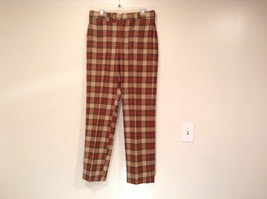 100 Percent Wool Tan Brown Red Dark Green Plaid Pants Richard Oliver No Tag