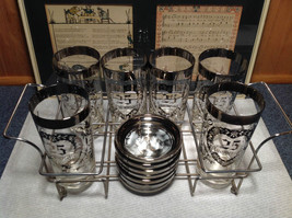 12 Piece Silver Overlay Tall Water Glass Cups with Coasters 25th Anniversary