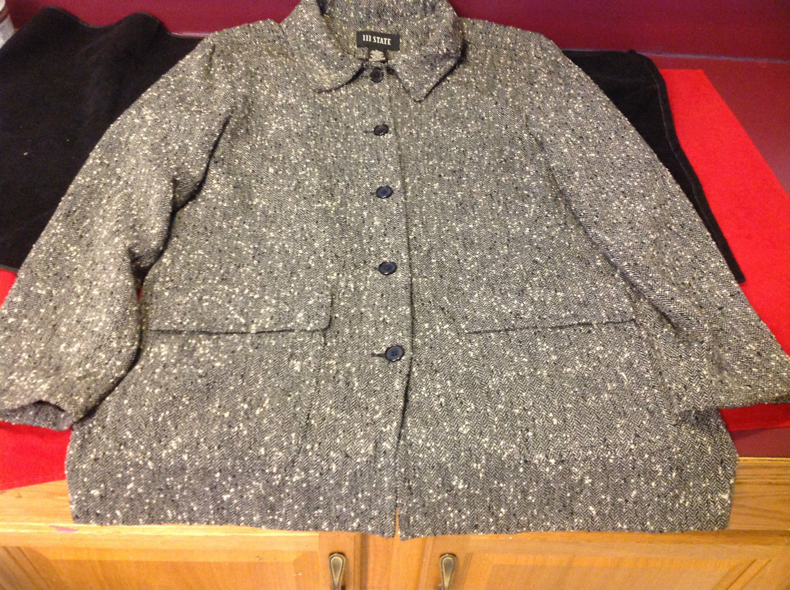 111 State Brand Ladies Dark Gray Lined Blazer Made in USA Size Medium