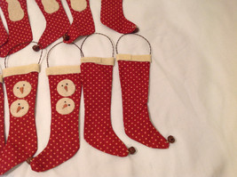 13 Piece Set of Red Fabric Vintage Look Holiday Stockings with Snowman image 6