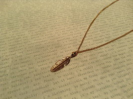 14K Gold Plated Feather Pendant Sterling Silver Base Necklace image 5
