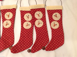 13 Piece Set of Red Fabric Vintage Look Holiday Stockings with Snowman image 5